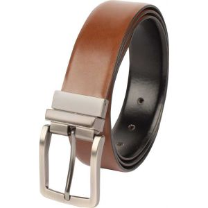 eXcorio  Men Formal Black Genuine Leather Reversible Belt-016