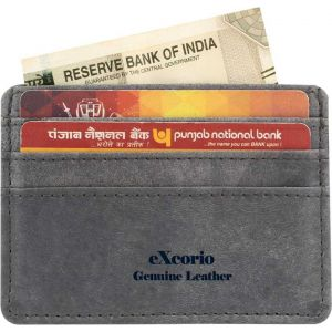 eXcorio  Men Blue Genuine Leather RFID Card Holder  (5 Card Slots)