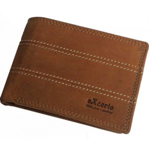 eXcorio  Men Trendy Tan Genuine Leather RFID Wallet  (8 Card Slots)