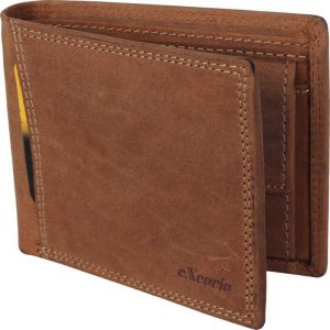 eXcorio  Men Trendy Tan Genuine Leather Wallet  (10 Card Slots)