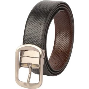 eXcorio  Men Formal Black Genuine Leather Reversible Belt