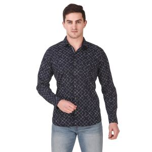 DesignUp Black Printed Shirt for Men's-025