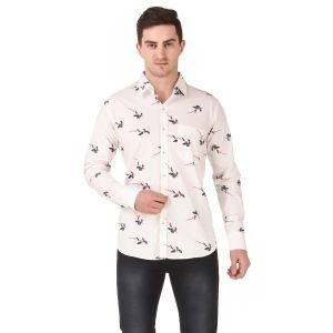 DesignUp White Printed Shirt for Men's-009