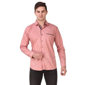 DesignUp Pink Printed Shirt for Men's-028