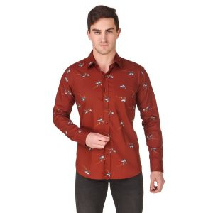 DesignUp Red Printed Shirt for Men's-010