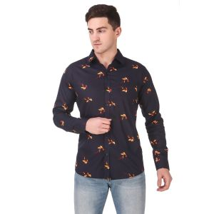 DesignUp Blue Printed Shirt for Men's-011