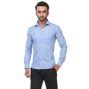 DesignUp Blue Solid Shirt for Men's-013