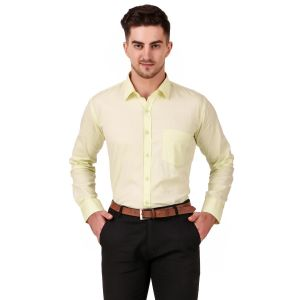 DesignUp Cream Solid Shirt for Men's-015