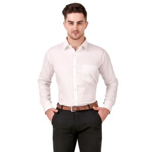 DesignUp White Solid  Shirt for Men's-016