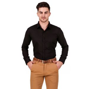 DesignUp Black Solid Shirt for Men's-020