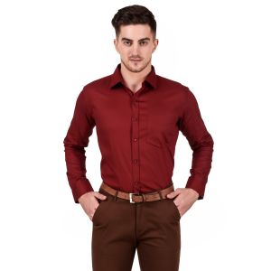 DesignUp Red Solid Shirt for Men's-021