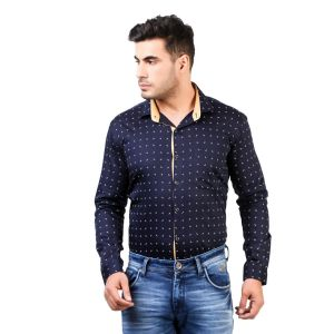 DesignUp Blue  Printed Shirt for Men's-002