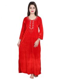 Seema Free Size Velevt Red Nighty for Women's-003