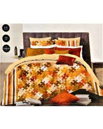 City Brown Printed Double BedSheet