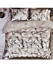 City White Printed Double Bed Sheet  With 2 pillow Cover