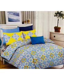 City Printed Designed Blue Double Bed Sheet