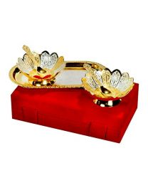 MSW Designed Silver & Gold Plated Bowl-Pack of 2
