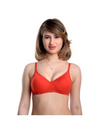 Teusy Red Padded Bra with Transparent Strips -006