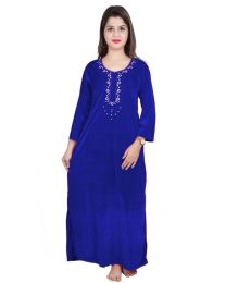 Seema Free Size Blue Velvet Nighty for Women's-0010