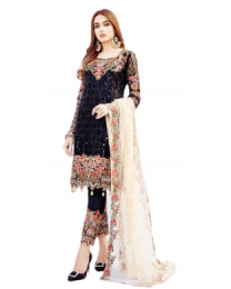 Harihar Free Size  Black Embroided Unstitched Suit for Women's and Girl's-002