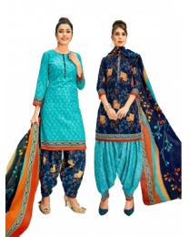 HariHar Blue Color Unstitched Suit Material