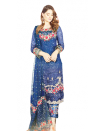 Harihar Free size  Blue  Embroided Unstitched Suit for Women's and Girl's-003