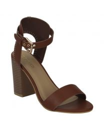 Estatos Leather Brown Buckle Closure Open Toe Block Heel Sandals