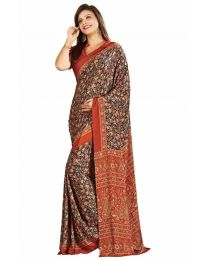 Amam Brown Printed Crepe Sil Saree for Women's-0064