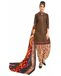 Harihar Brown Unstitched Suit for Women's and Girl's