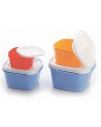 Loozito Container 4 Pcs Set  375 ml 750 ml 1250 ml 2100 ml Plastic Grocery Container