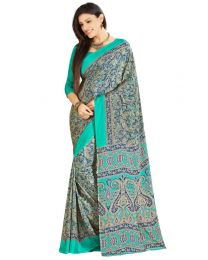 Amam Designed Blue  Silk Crepe saree for Women's-0070