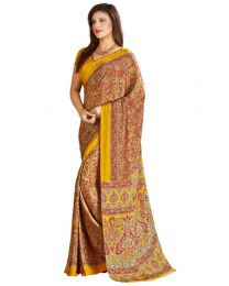 Amam Brown dotted Silk Crepe saree for Women's-0067