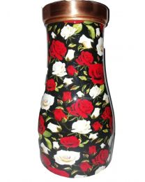 MSW Red Flower Printed Bedroom Copper Bottle-1000ml
