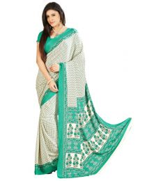 Amam Green Crepe Printed Saree for Women's-0063