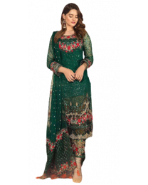 Harihar Free Size Green Embroided Unstitched Suit for Women's and Girl's-004