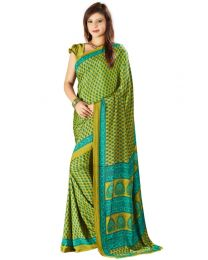 Amam  Green dotted Silk Crepe saree for Women's-0068