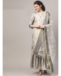 Navya Creations Grey Kurti With Dupatta & Plazzo- NC-004
