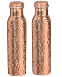 Indian Crafts Hammard Copper Water Bottle (Pack of 2)