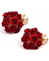 No Mercy Red Flowers Studs