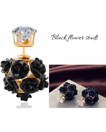 No Mercy Black Flower Ear Studs