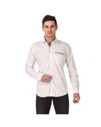 DesignUp White Printed Shirt for Men's-024