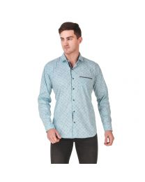 DesignUp Blue Printed Shirt for Men's-026