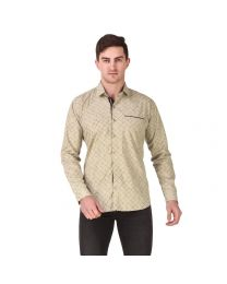 DesignUp Brown Printed Shirt for Men's-027