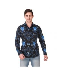 DesignUp Blue Printed Shirt for Men's-029