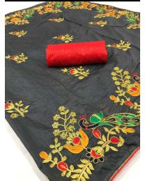 Fancy Heavy embroidery  cotton saree-001