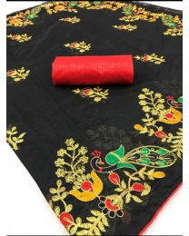 Fancy Heavy embroidery cotton saree-002