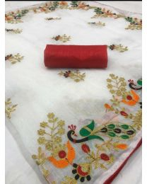 Fancy Heavy embroidery cotton saree-003