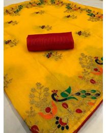 Fancy Heavy embroidery cotton saree-004