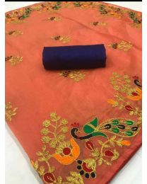 Fancy Heavy embroidery cotton saree-005