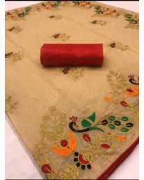 Fancy Heavy embroidery cotton saree-006